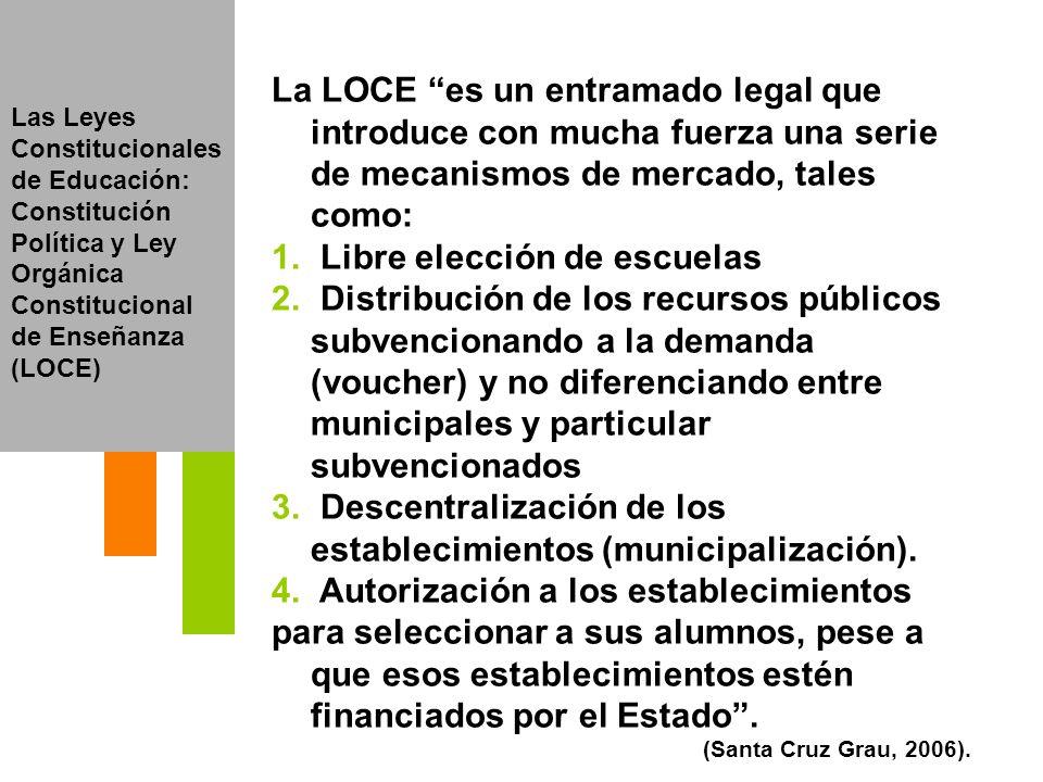 Las Leyes Constitucionales de Educación: Constitución Política y Ley Orgánica Constitucional de Enseñanza (LOCE) La LOCE es un entramado legal que int