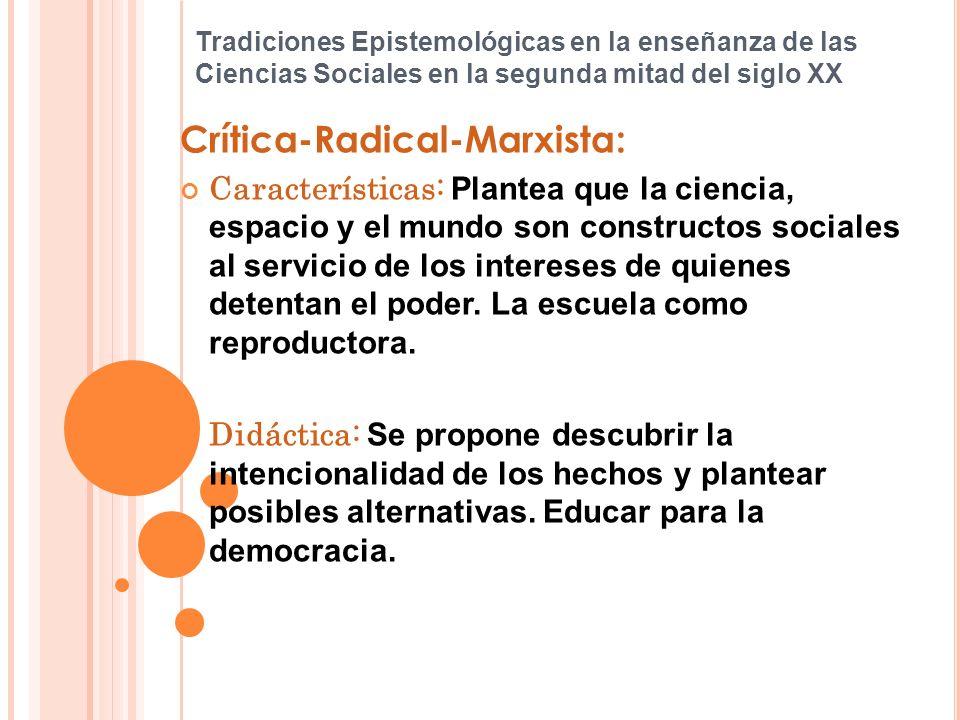 Tradiciones Epistemológicas en la enseñanza de las Ciencias Sociales en la segunda mitad del siglo XX Crítica-Radical-Marxista: Características: Plant