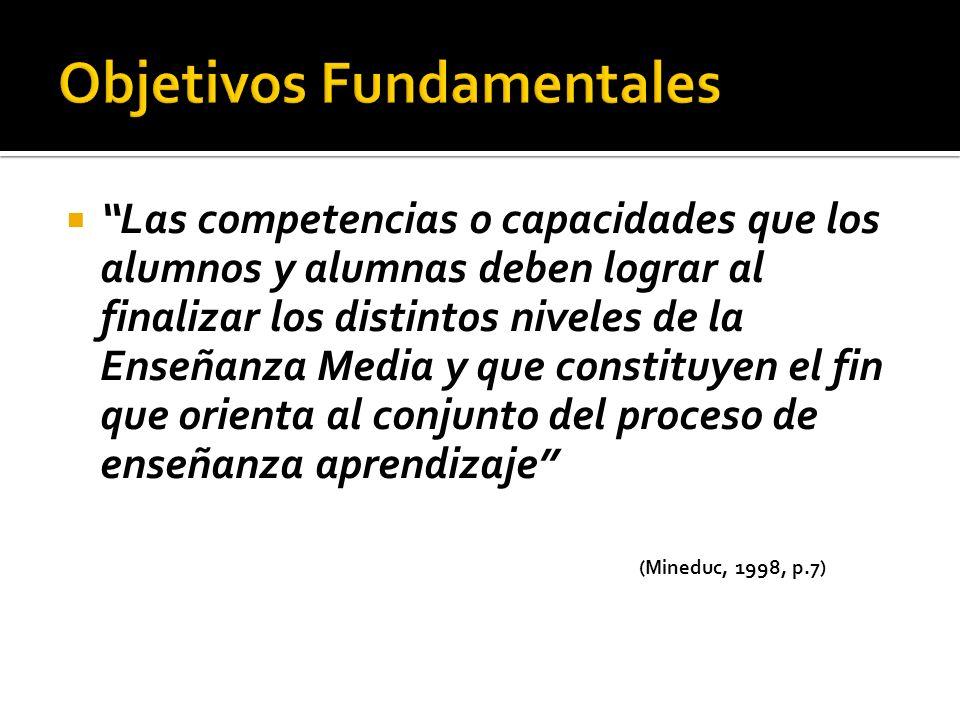 Las competencias o capacidades que los alumnos y alumnas deben lograr al finalizar los distintos niveles de la Enseñanza Media y que constituyen el fi