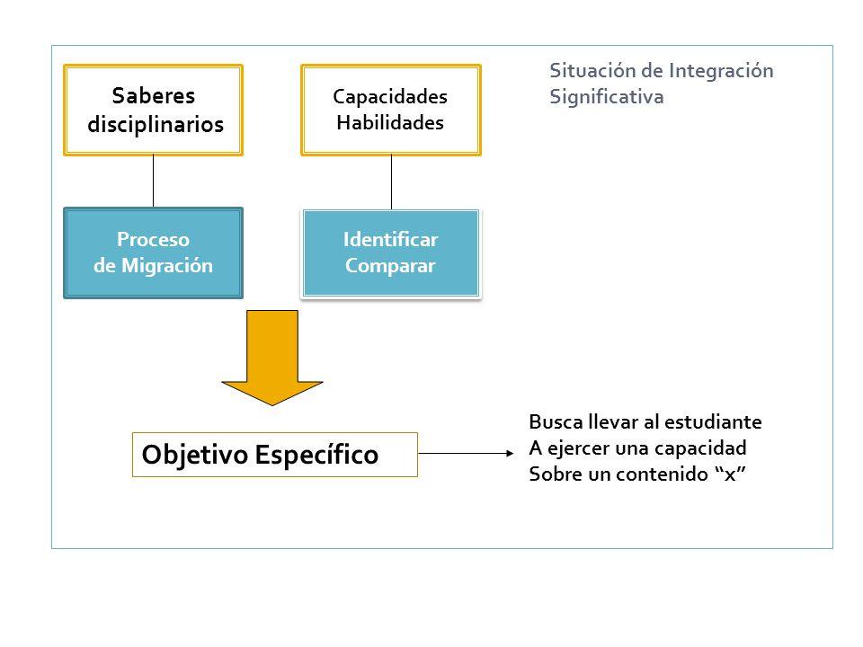 Saberes disciplinarios Capacidades Habilidades Proceso de Migración Identificar Comparar Identificar Comparar Objetivo Específico Busca llevar al estu