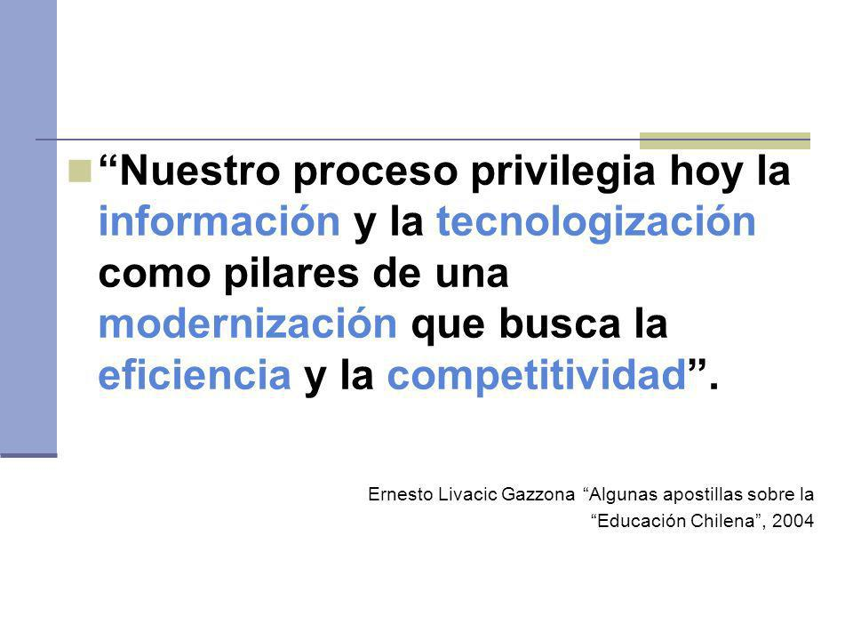 Nuestro proceso privilegia hoy la información y la tecnologización como pilares de una modernización que busca la eficiencia y la competitividad. Erne