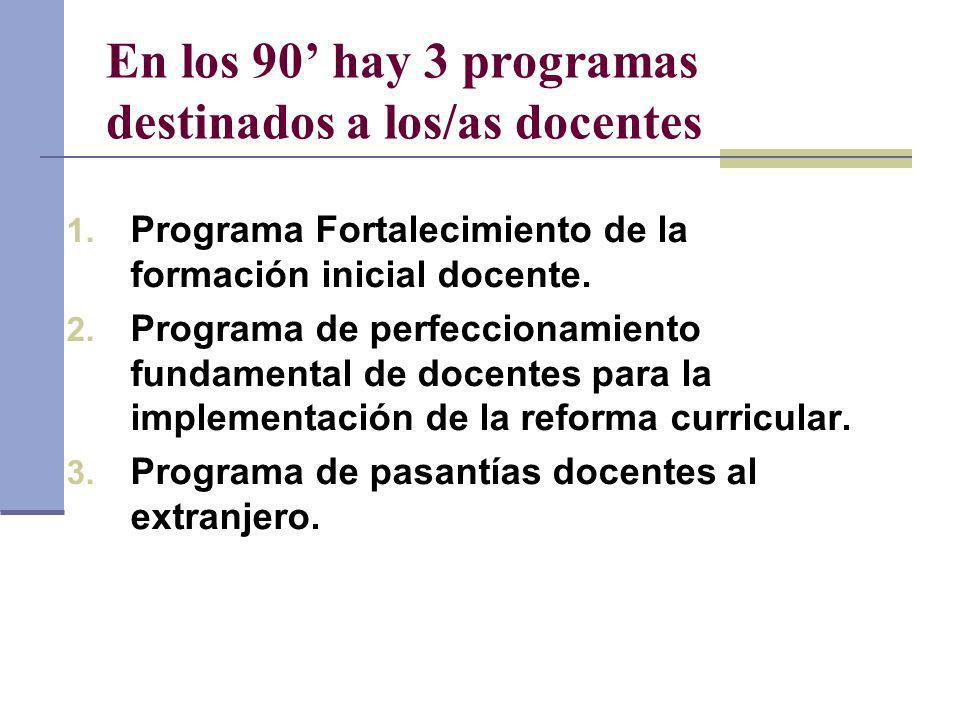 En los 90 hay 3 programas destinados a los/as docentes 1. Programa Fortalecimiento de la formación inicial docente. 2. Programa de perfeccionamiento f