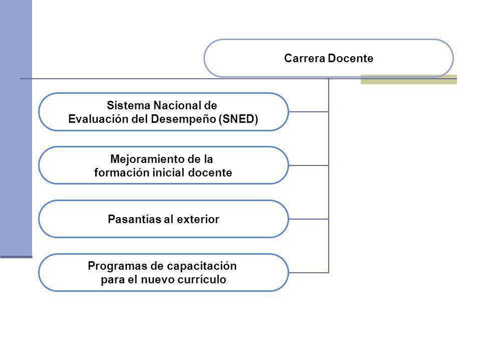 Carrera Docente Sistema Nacional de Evaluación del Desempeño (SNED) Mejoramiento de la formación inicial docente Pasantías al exterior Programas de ca