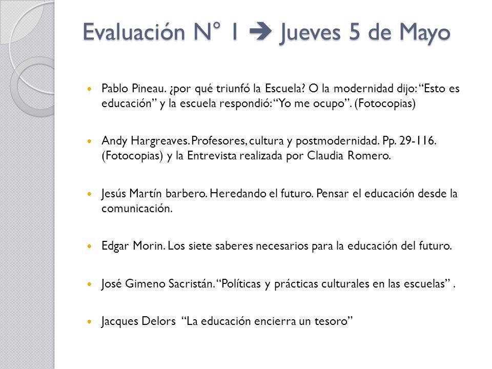 Evaluación N° 1 Jueves 5 de Mayo Pablo Pineau. ¿por qué triunfó la Escuela? O la modernidad dijo: Esto es educación y la escuela respondió: Yo me ocup
