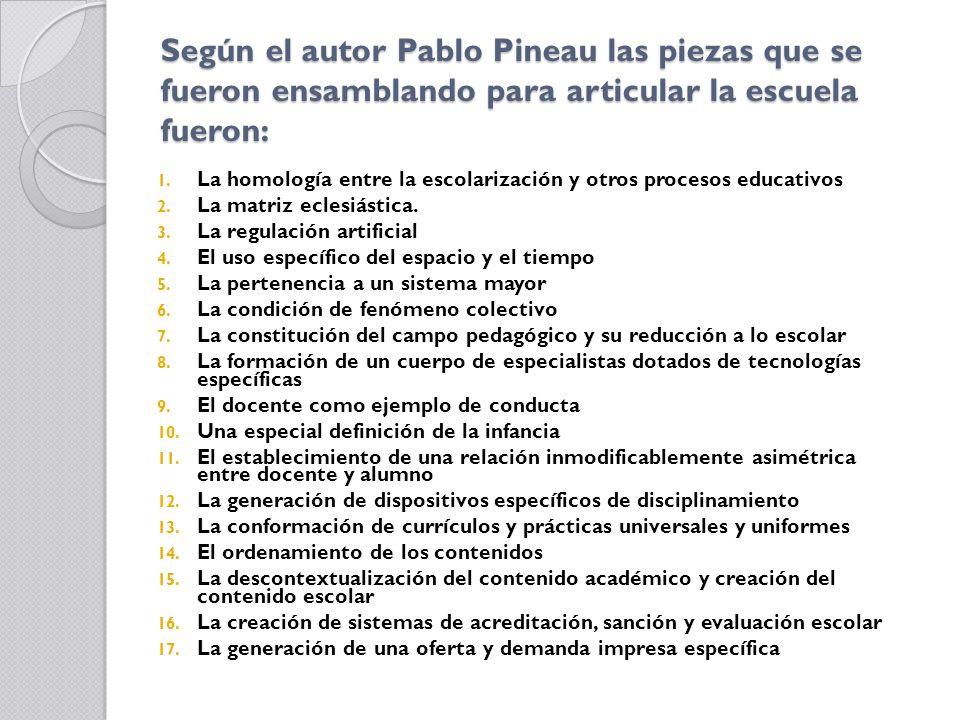 Según el autor Pablo Pineau las piezas que se fueron ensamblando para articular la escuela fueron: 1. La homología entre la escolarización y otros pro