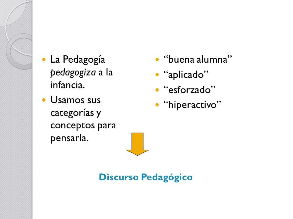 La Pedagogía pedagogiza a la infancia. Usamos sus categorías y conceptos para pensarla. buena alumna aplicado esforzado hiperactivo Discurso Pedagógic