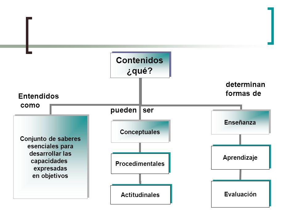 Contenidos ¿qué? Conjunto de saberes esenciales para desarrollar las capacidades expresadas en objetivos Enseñanza Aprendizaje Evaluación Conceptuales