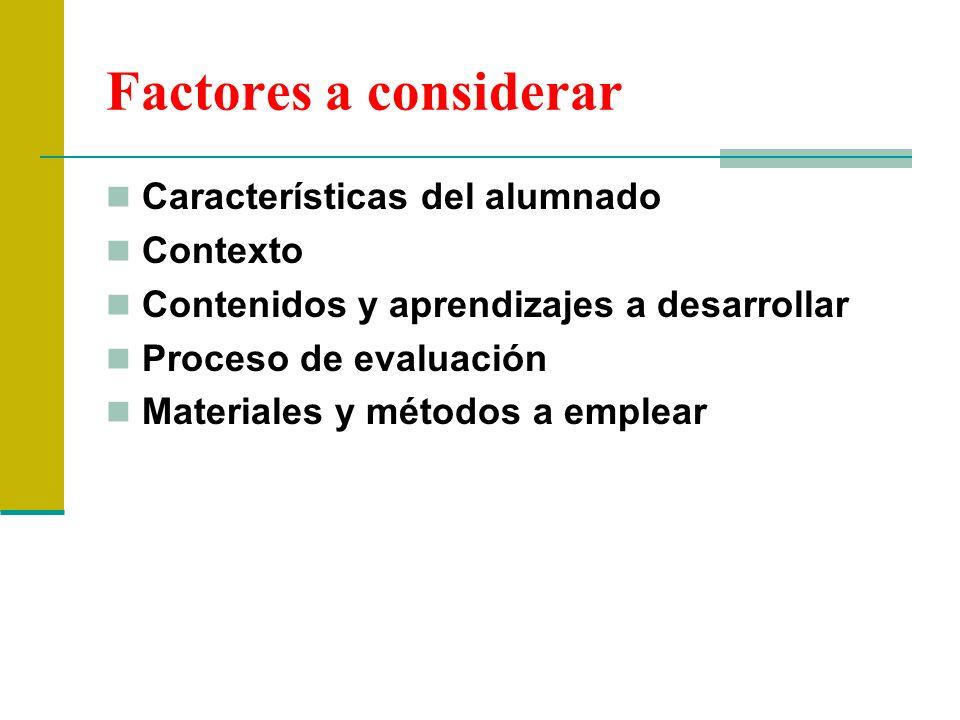 Factores a considerar Características del alumnado Contexto Contenidos y aprendizajes a desarrollar Proceso de evaluación Materiales y métodos a emple