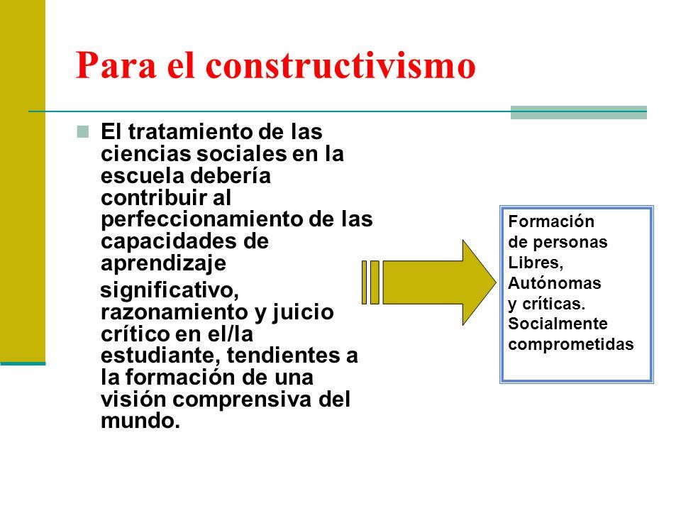 Para el constructivismo El tratamiento de las ciencias sociales en la escuela debería contribuir al perfeccionamiento de las capacidades de aprendizaj