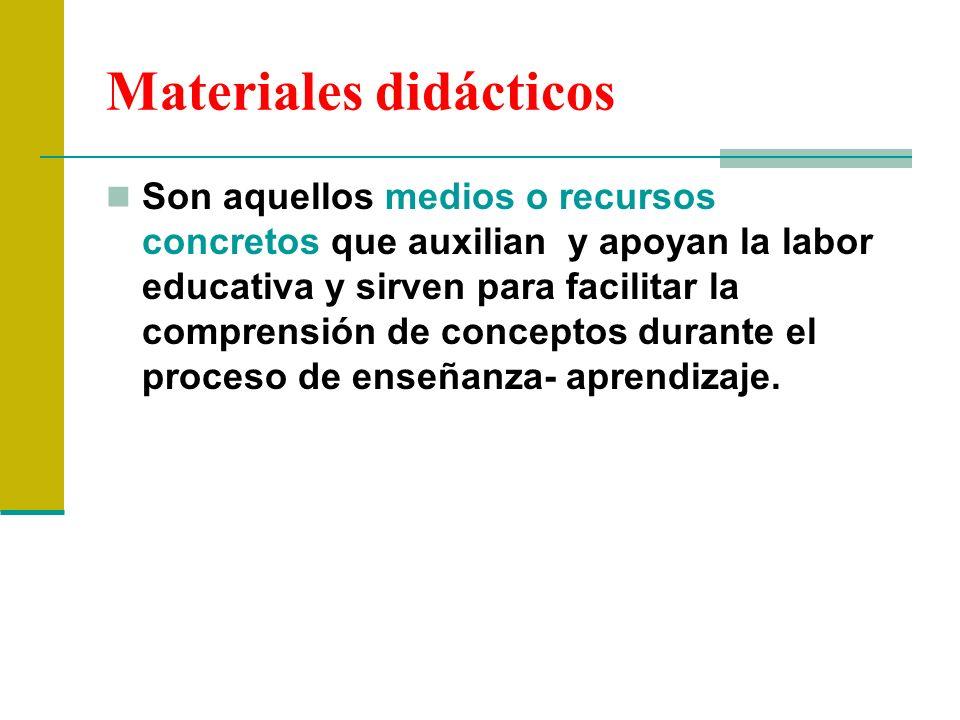 Materiales didácticos Son aquellos medios o recursos concretos que auxilian y apoyan la labor educativa y sirven para facilitar la comprensión de conc