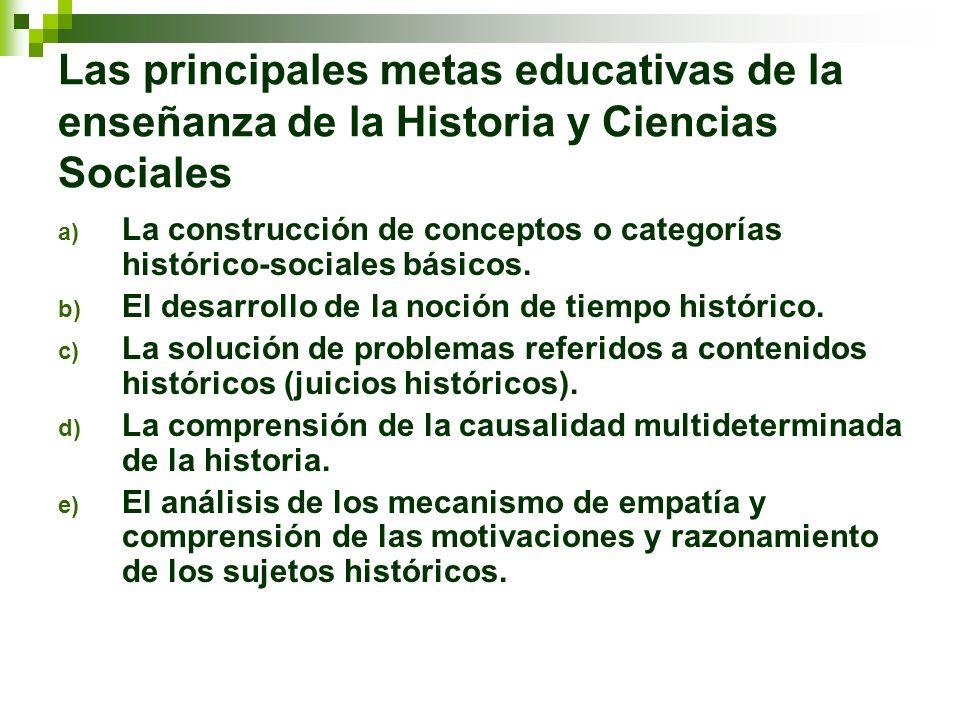 Las principales metas educativas de la enseñanza de la Historia y Ciencias Sociales a) La construcción de conceptos o categorías histórico-sociales bá