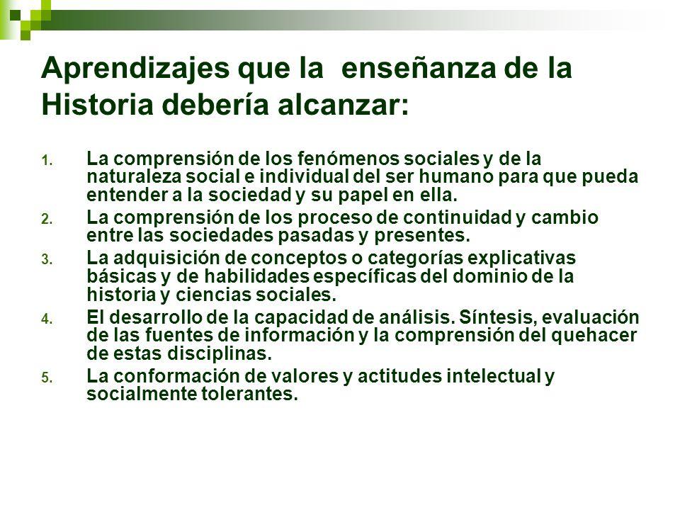Aprendizajes que la enseñanza de la Historia debería alcanzar: 1. La comprensión de los fenómenos sociales y de la naturaleza social e individual del