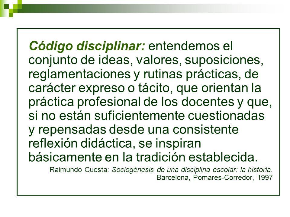 Código disciplinar: entendemos el conjunto de ideas, valores, suposiciones, reglamentaciones y rutinas prácticas, de carácter expreso o tácito, que or