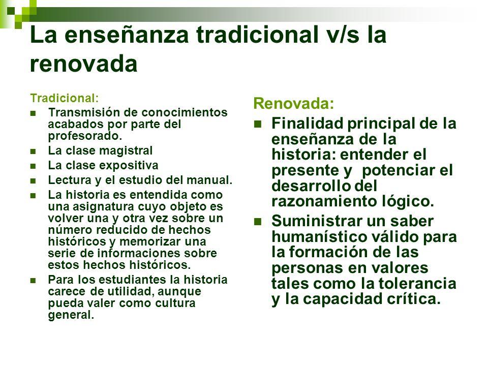 La enseñanza tradicional v/s la renovada Tradicional: Transmisión de conocimientos acabados por parte del profesorado. La clase magistral La clase exp