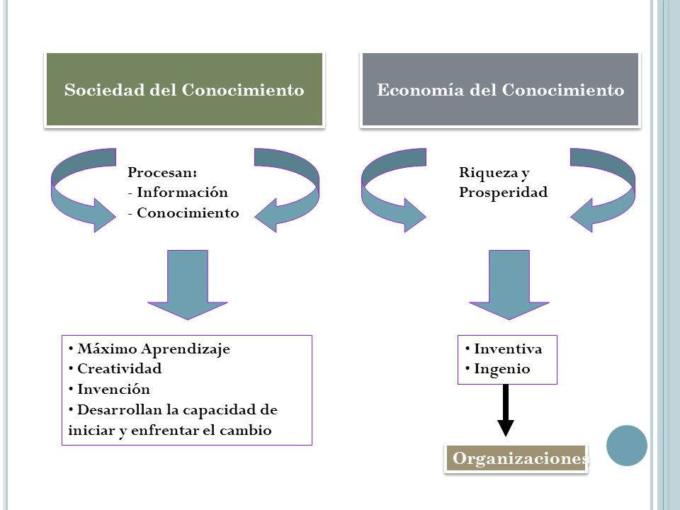 Sociedad del Conocimiento Procesan: - Información - Conocimiento Máximo Aprendizaje Creatividad Invención Desarrollan la capacidad de iniciar y enfren
