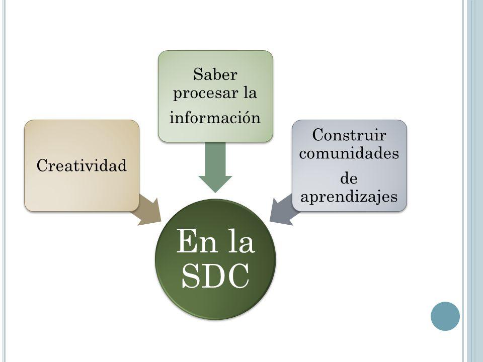 En la SDC Creatividad Saber procesar la información Construir comunidades de aprendizajes