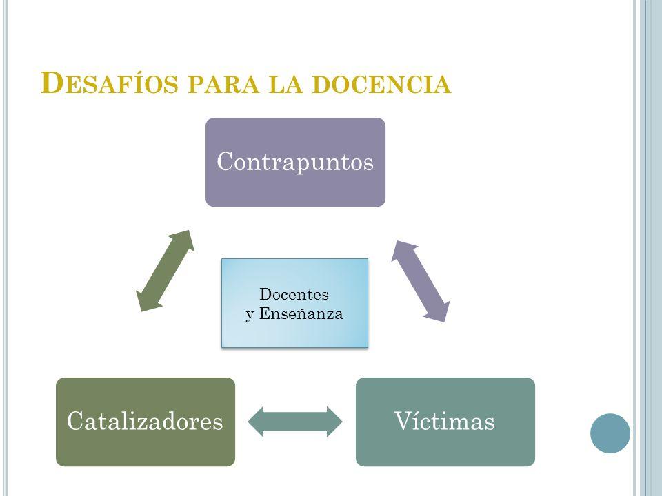 D ESAFÍOS PARA LA DOCENCIA ContrapuntosVíctimasCatalizadores Docentes y Enseñanza Docentes y Enseñanza
