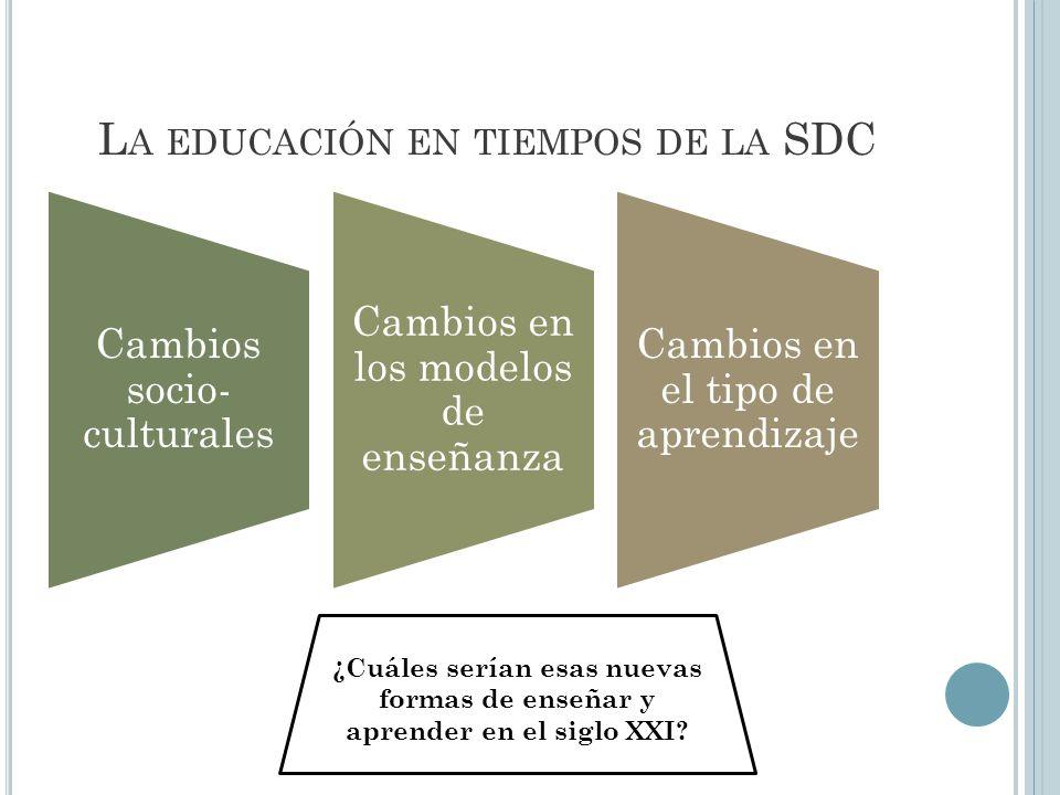 L A EDUCACIÓN EN TIEMPOS DE LA SDC Cambios socio- culturales Cambios en los modelos de enseñanza Cambios en el tipo de aprendizaje ¿Cuáles serían esas