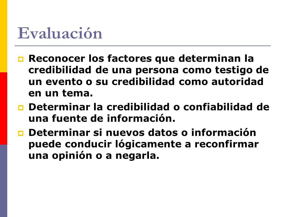 Evaluación Reconocer los factores que determinan la credibilidad de una persona como testigo de un evento o su credibilidad como autoridad en un tema.