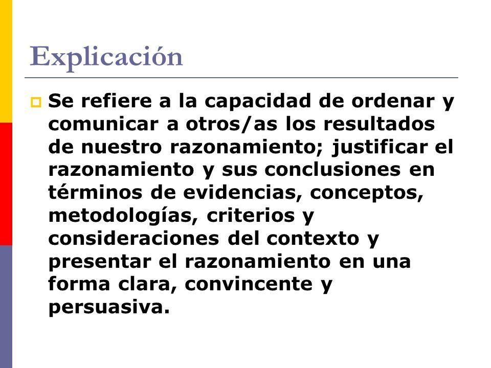 Explicación Se refiere a la capacidad de ordenar y comunicar a otros/as los resultados de nuestro razonamiento; justificar el razonamiento y sus concl