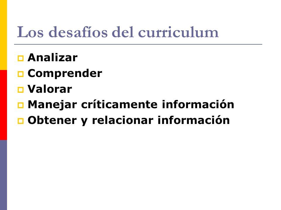 Los desafíos del curriculum Analizar Comprender Valorar Manejar críticamente información Obtener y relacionar información