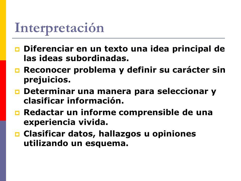 Interpretación Diferenciar en un texto una idea principal de las ideas subordinadas. Reconocer problema y definir su carácter sin prejuicios. Determin
