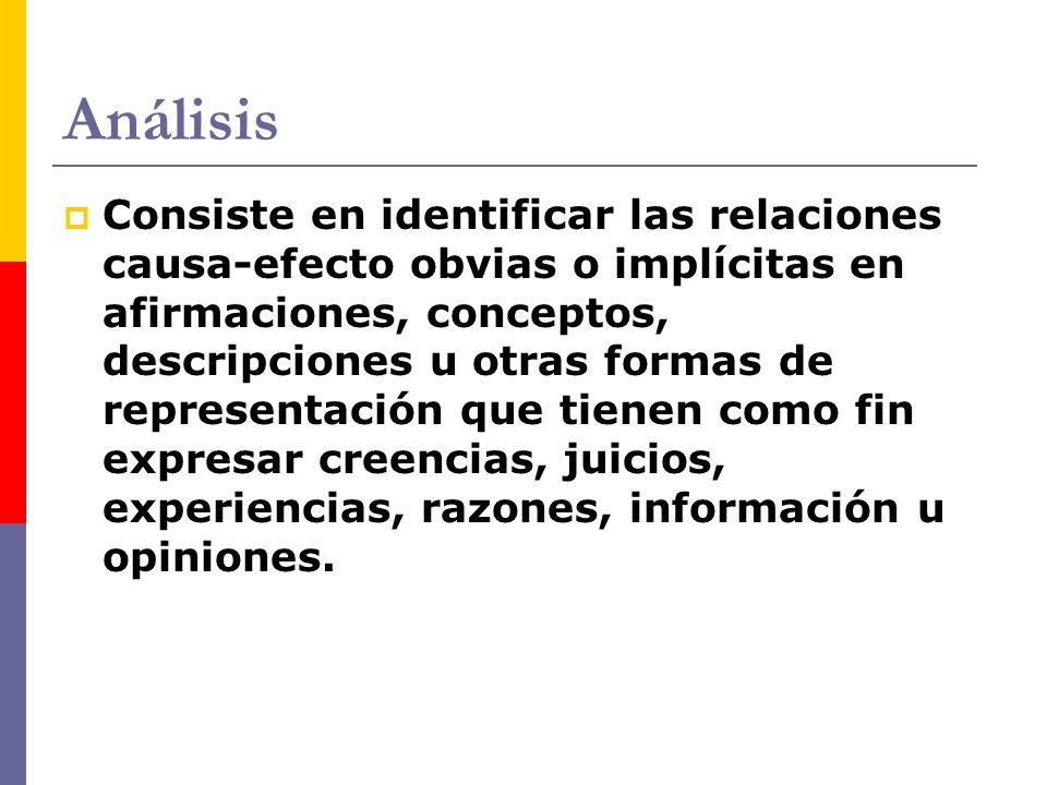 Análisis Consiste en identificar las relaciones causa-efecto obvias o implícitas en afirmaciones, conceptos, descripciones u otras formas de represent