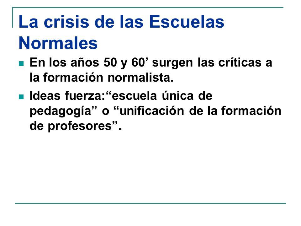 La crisis de las Escuelas Normales En los años 50 y 60 surgen las críticas a la formación normalista.