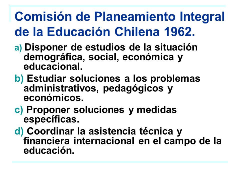 Comisión de Planeamiento Integral de la Educación Chilena 1962.