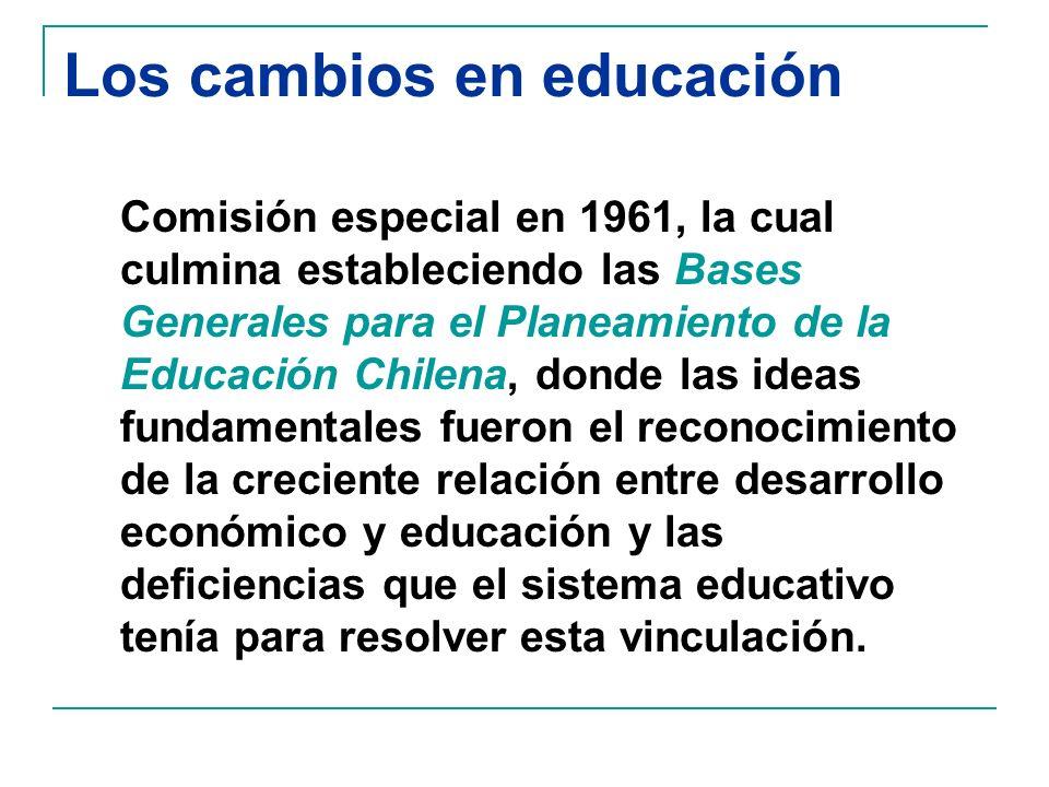 Los cambios en educación Comisión especial en 1961, la cual culmina estableciendo las Bases Generales para el Planeamiento de la Educación Chilena, donde las ideas fundamentales fueron el reconocimiento de la creciente relación entre desarrollo económico y educación y las deficiencias que el sistema educativo tenía para resolver esta vinculación.