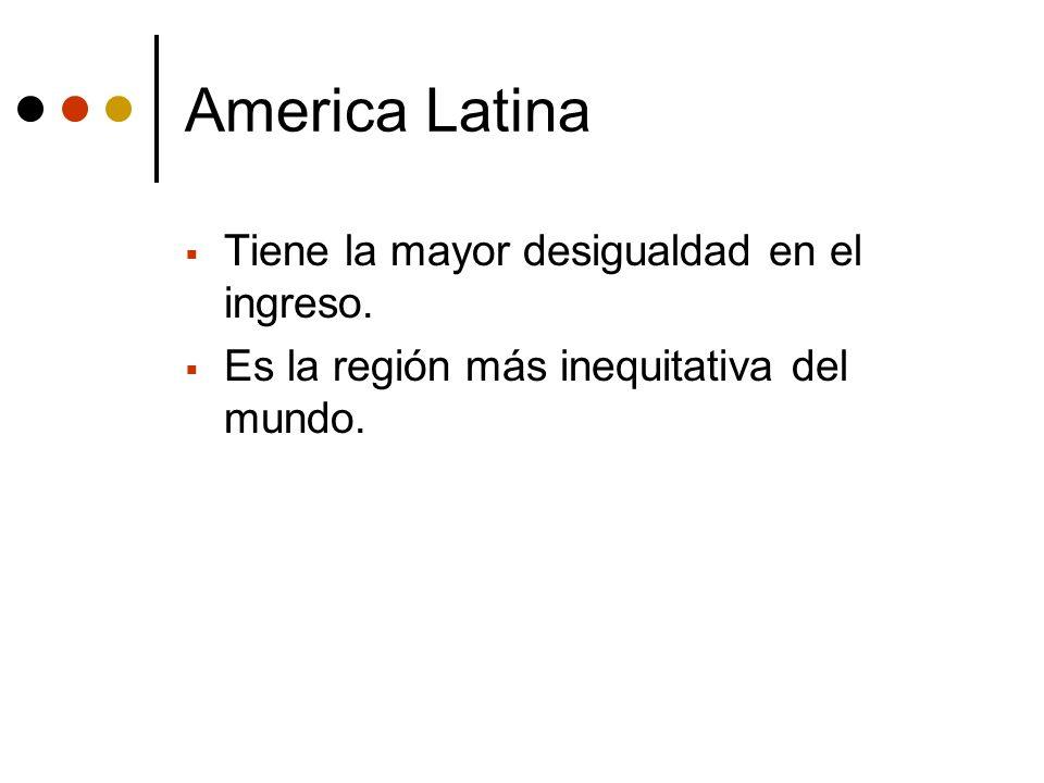 America Latina Tiene la mayor desigualdad en el ingreso. Es la región más inequitativa del mundo.