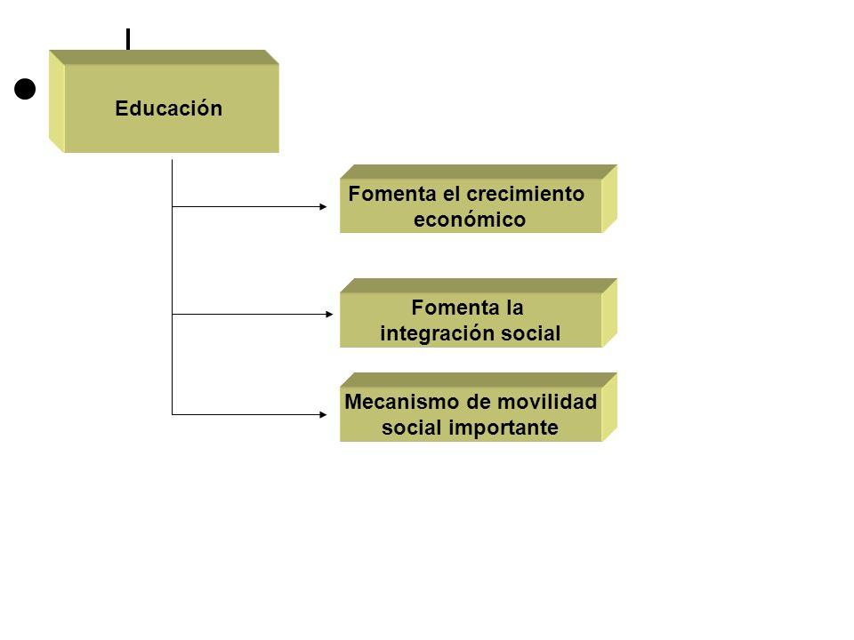 Educación Fomenta el crecimiento económico Fomenta la integración social Mecanismo de movilidad social importante