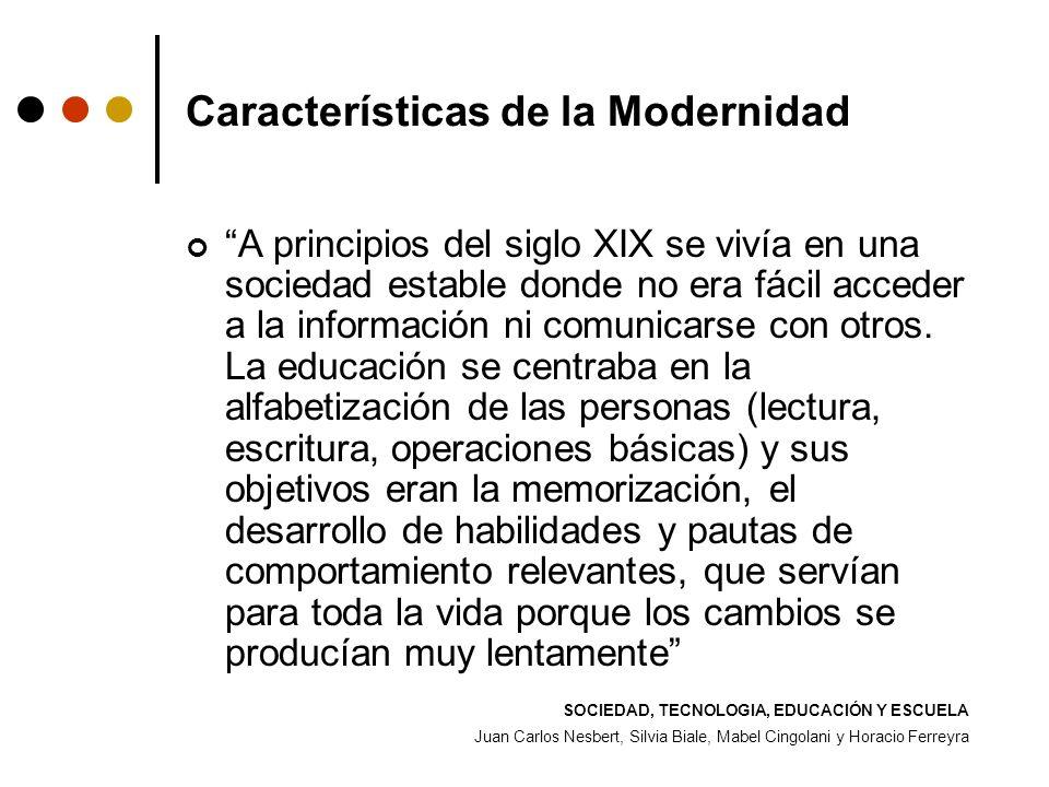 Características de la Modernidad A principios del siglo XIX se vivía en una sociedad estable donde no era fácil acceder a la información ni comunicars