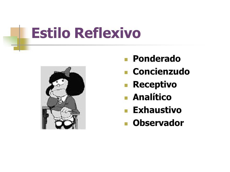 Estilo Reflexivo Ponderado Concienzudo Receptivo Analítico Exhaustivo Observador