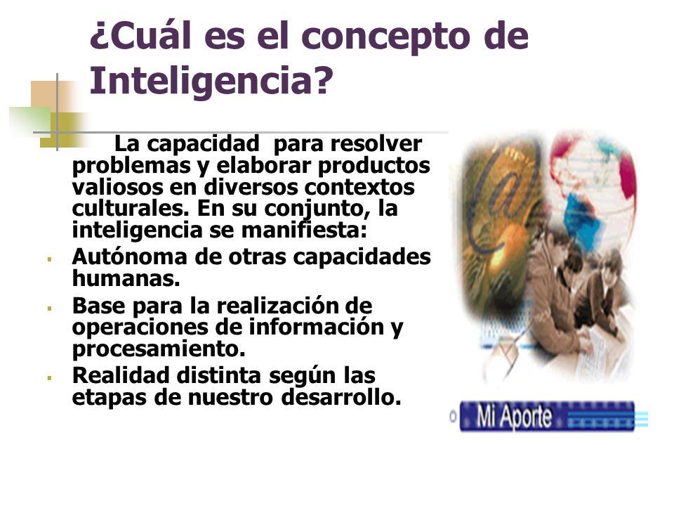 ¿Cuál es el concepto de Inteligencia.