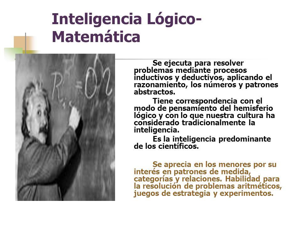Inteligencia Lógico- Matemática Se ejecuta para resolver problemas mediante procesos inductivos y deductivos, aplicando el razonamiento, los números y patrones abstractos.