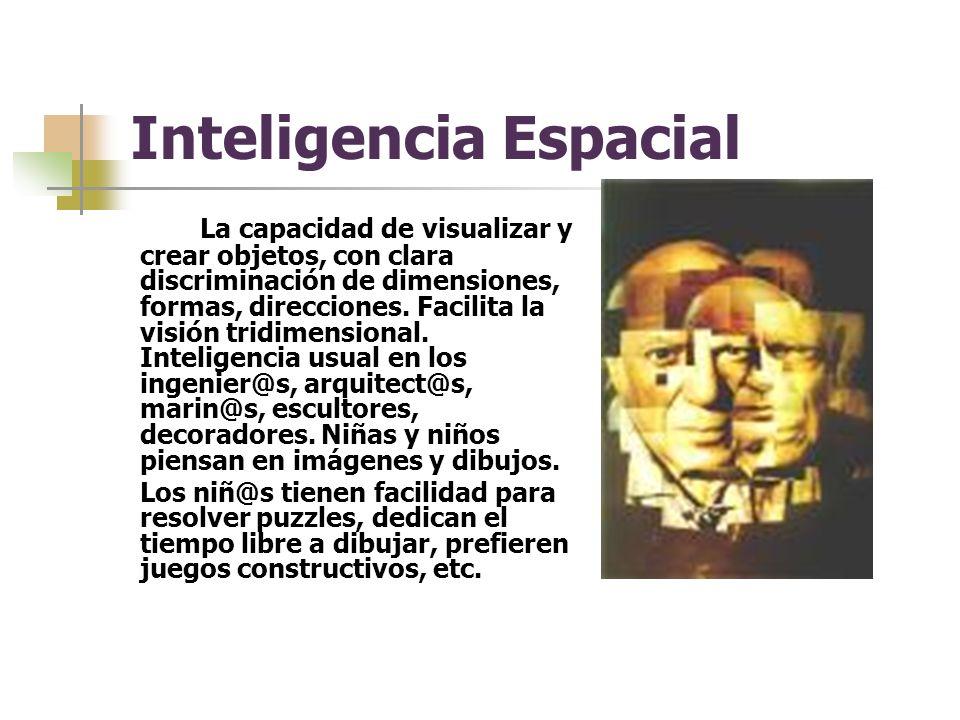 Inteligencia Espacial La capacidad de visualizar y crear objetos, con clara discriminación de dimensiones, formas, direcciones.