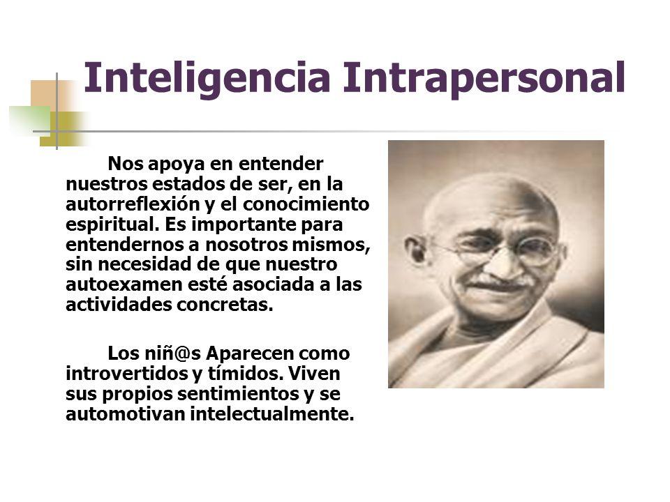 Inteligencia Intrapersonal Nos apoya en entender nuestros estados de ser, en la autorreflexión y el conocimiento espiritual.