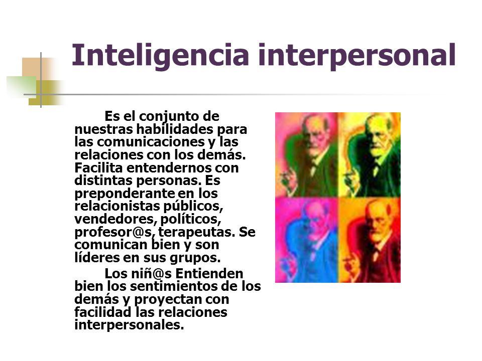 Inteligencia interpersonal Es el conjunto de nuestras habilidades para las comunicaciones y las relaciones con los demás.