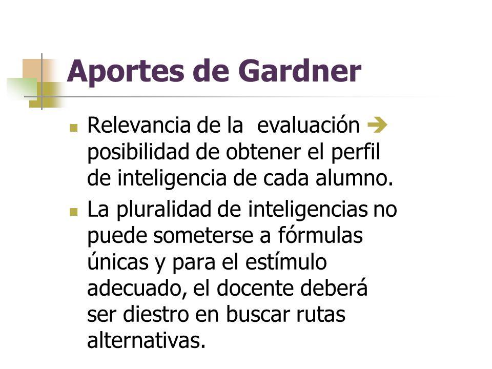 Aportes de Gardner Relevancia de la evaluación posibilidad de obtener el perfil de inteligencia de cada alumno.