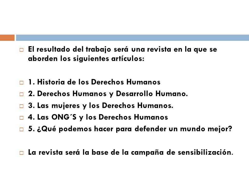 El resultado del trabajo será una revista en la que se aborden los siguientes artículos: 1. Historia de los Derechos Humanos 2. Derechos Humanos y Des