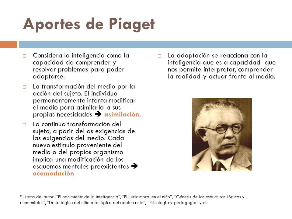 Aportes de Piaget Considera la inteligencia como la capacidad de comprender y resolver problemas para poder adaptarse. La transformación del medio por