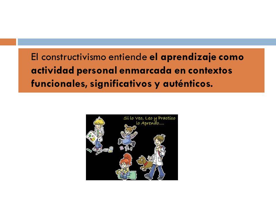 El constructivismo entiende el aprendizaje como actividad personal enmarcada en contextos funcionales, significativos y auténticos.