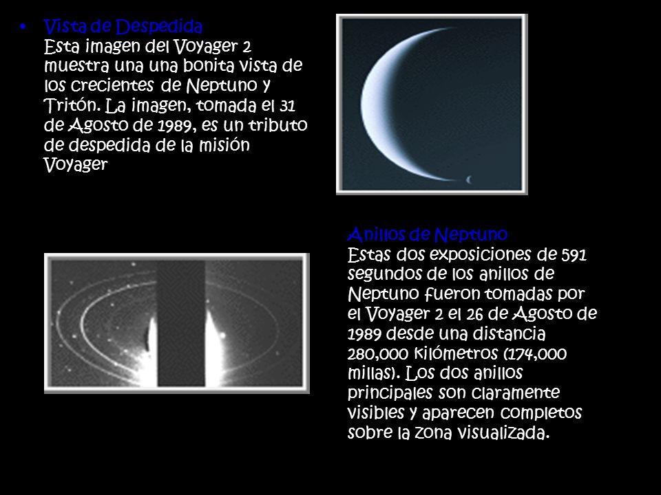 Vista de Despedida Esta imagen del Voyager 2 muestra una una bonita vista de los crecientes de Neptuno y Tritón. La imagen, tomada el 31 de Agosto de