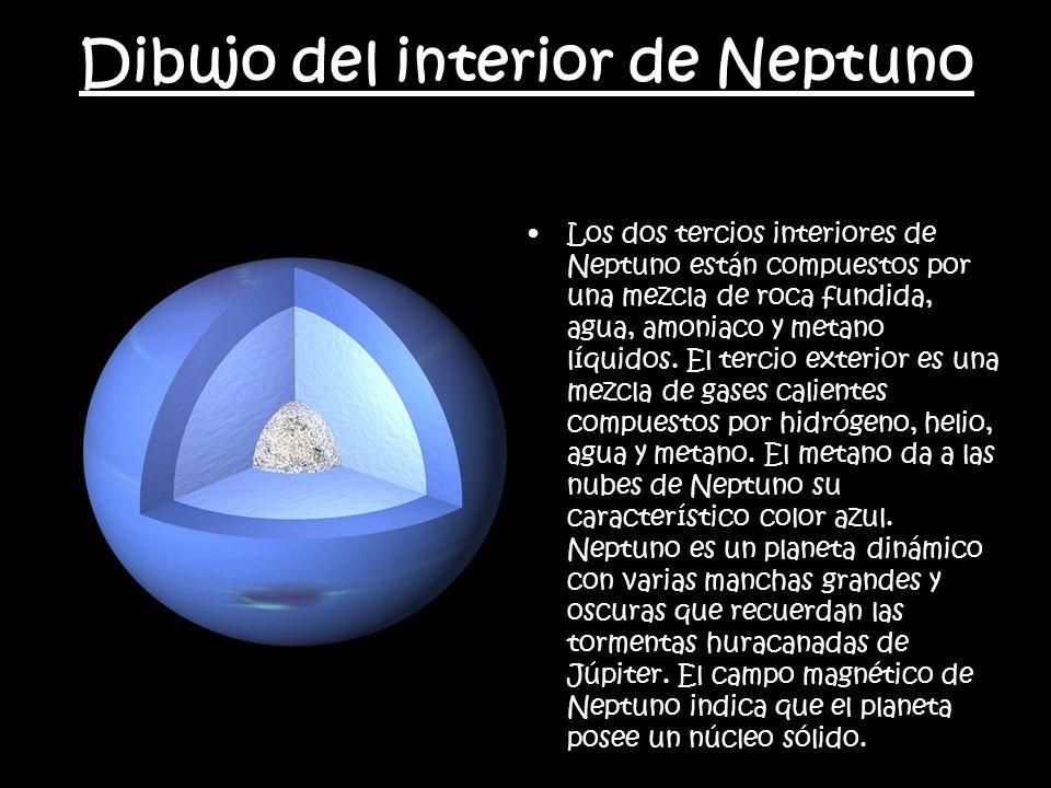 Dibujo del interior de Neptuno Los dos tercios interiores de Neptuno están compuestos por una mezcla de roca fundida, agua, amoniaco y metano líquidos