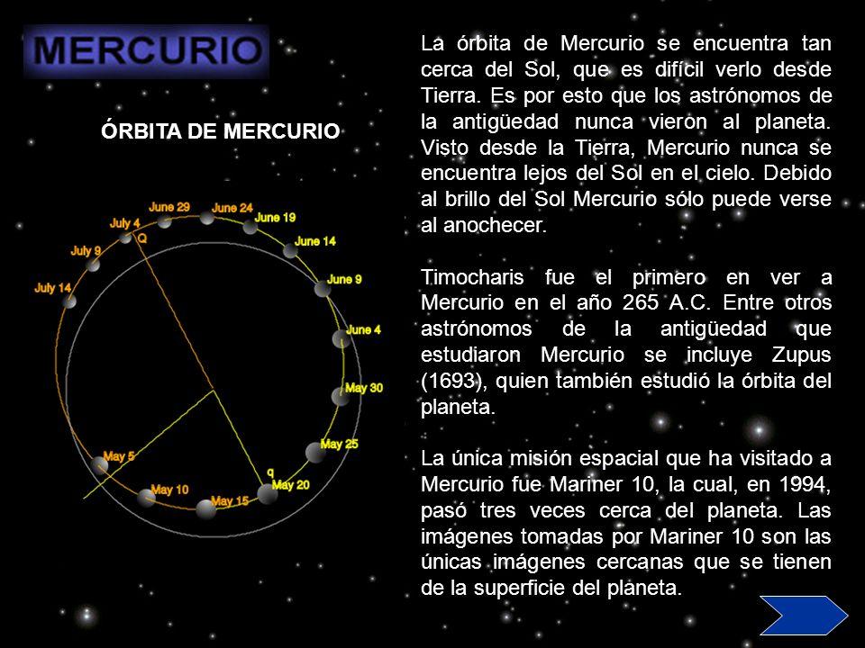 La órbita de Mercurio se encuentra tan cerca del Sol, que es difícil verlo desde Tierra. Es por esto que los astrónomos de la antigüedad nunca vieron