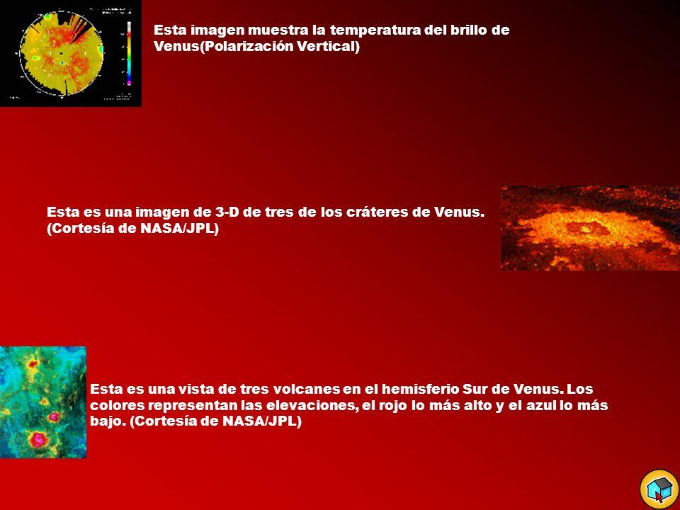 Esta imagen muestra la temperatura del brillo de Venus(Polarización Vertical) Esta es una imagen de 3-D de tres de los cráteres de Venus. (Cortesía de