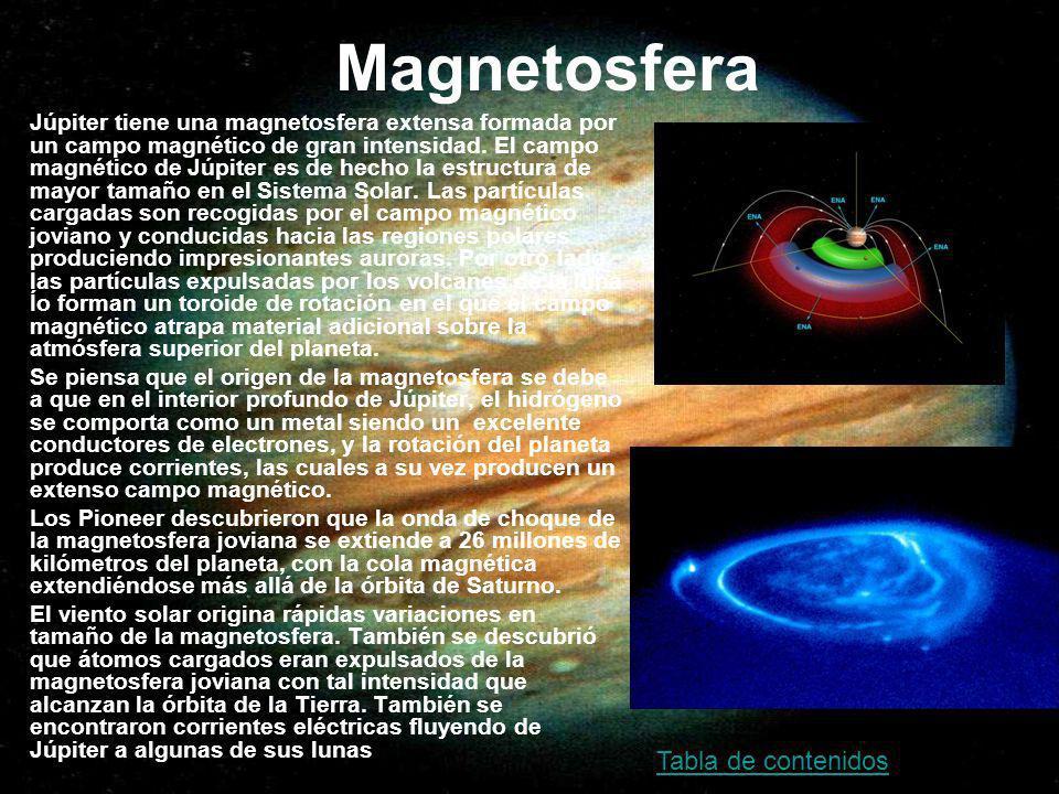 Magnetosfera Júpiter tiene una magnetosfera extensa formada por un campo magnético de gran intensidad. El campo magnético de Júpiter es de hecho la es