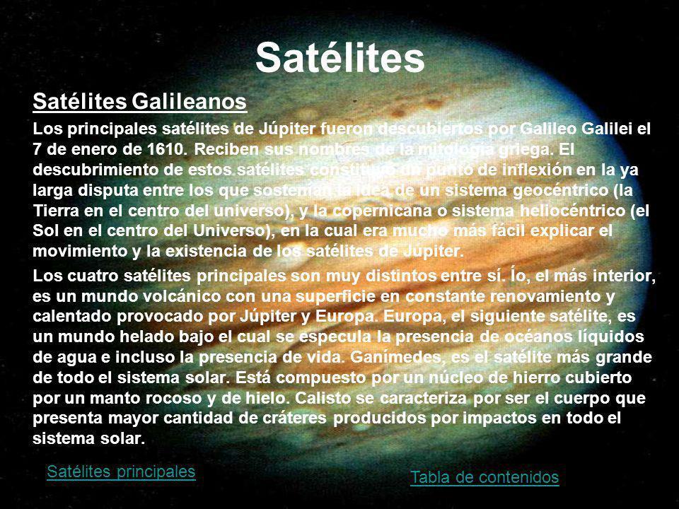 Satélites Satélites Galileanos Los principales satélites de Júpiter fueron descubiertos por Galileo Galilei el 7 de enero de 1610. Reciben sus nombres