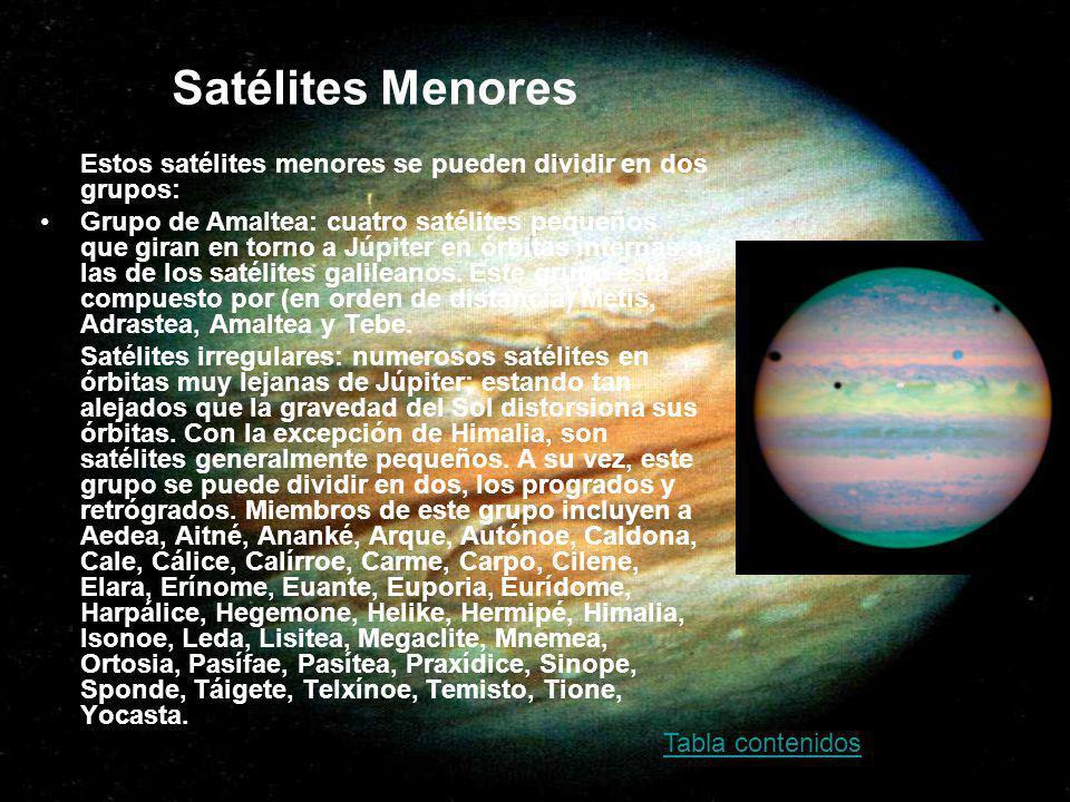Satélites Menores Estos satélites menores se pueden dividir en dos grupos: Grupo de Amaltea: cuatro satélites pequeños que giran en torno a Júpiter en